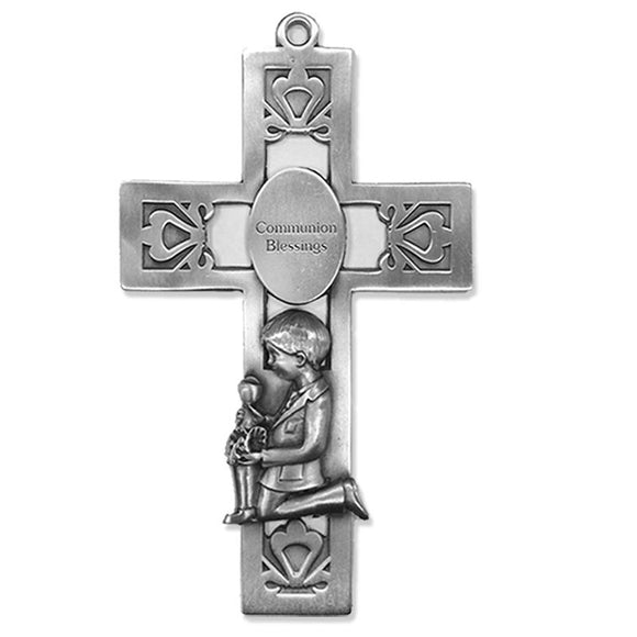 Communion Blessings Kneeling Boy Pewter Cross