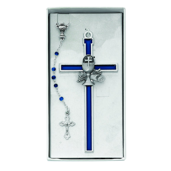 Blue Communion Rosary and Enameled Cross Set