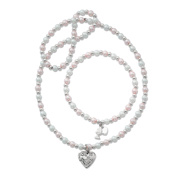 Pink & Pearl Locket Necklace and Bracelet Set