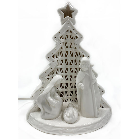 Ceramic Holy Family Lighted Nativity