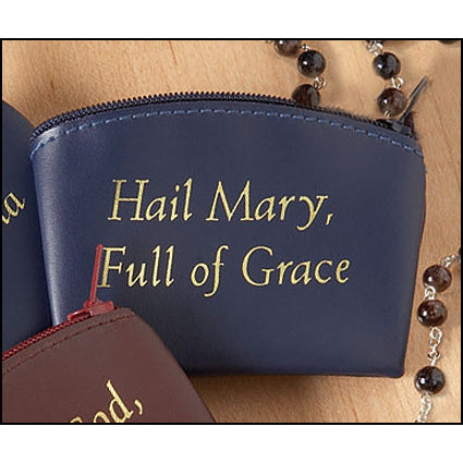Blue Hail Mary Full of Grace Zippered Rosary Case