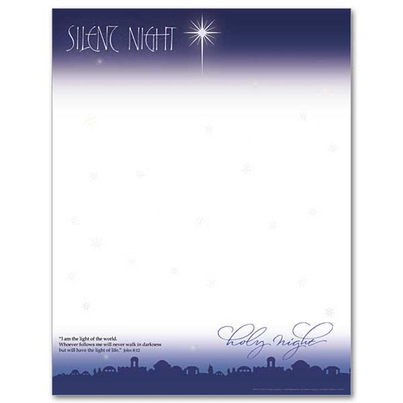 Silent Night Christmas Stationery