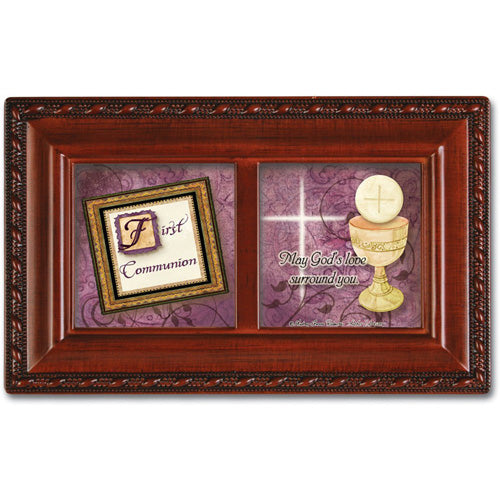 Woodgrain First Communion Music Box