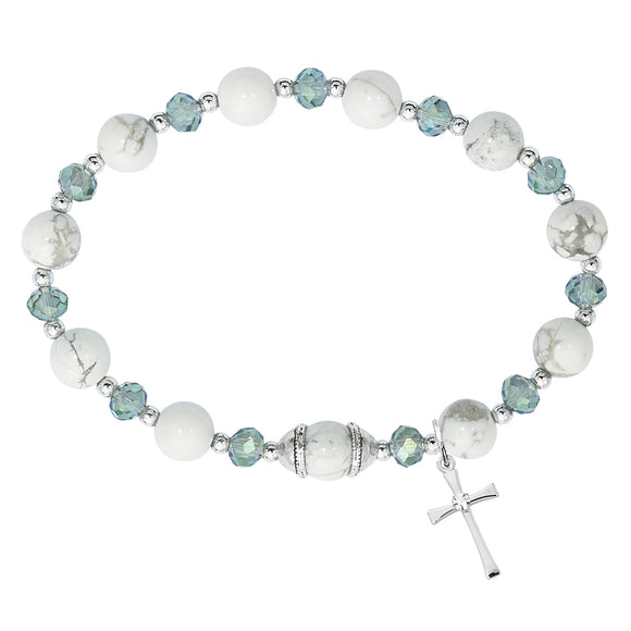 Howlite & Gray Crystal Stretch Rosary Bracelet