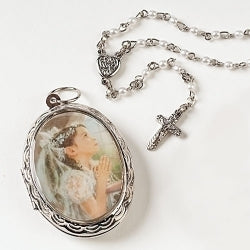 First Communion Locket and Rosary Set