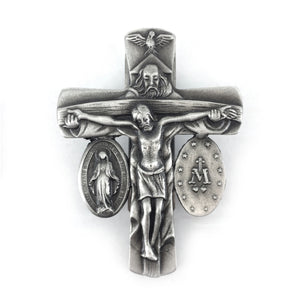 Trinity Crucifix and Miraculous Medal Visor Clip