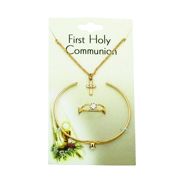 First Communion Jewelry Set in Gold