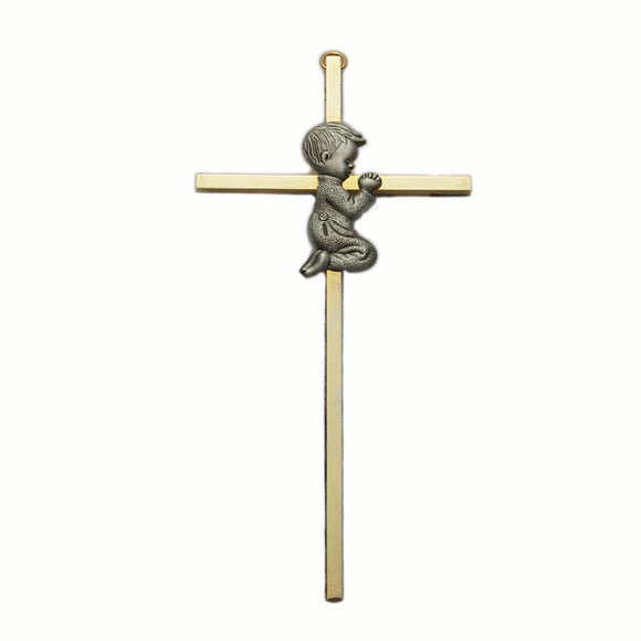 Brass and Gold Praying Boy Cross
