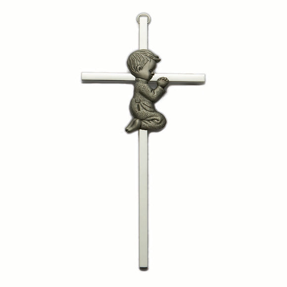 Silver Praying Boy Cross