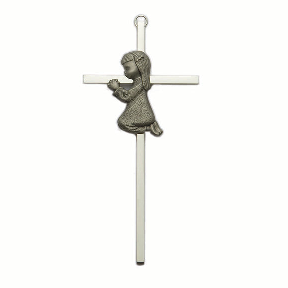 Silver Praying Girl Cross