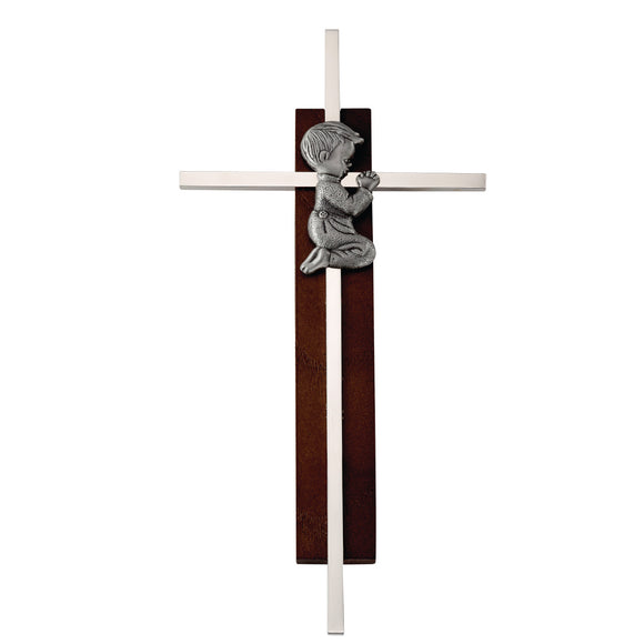 Wood and Silver Praying Boy Cross