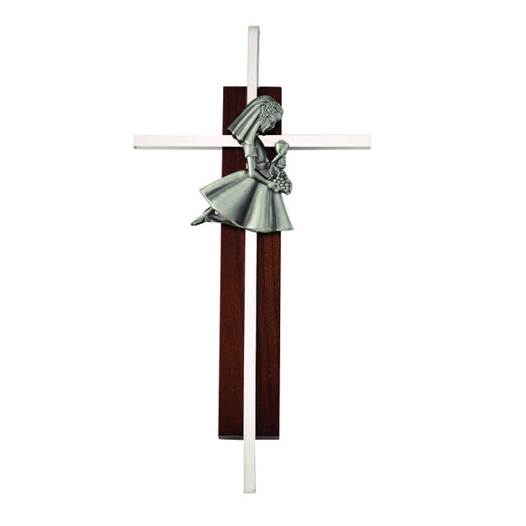 Dark Wood Communion Girl Cross