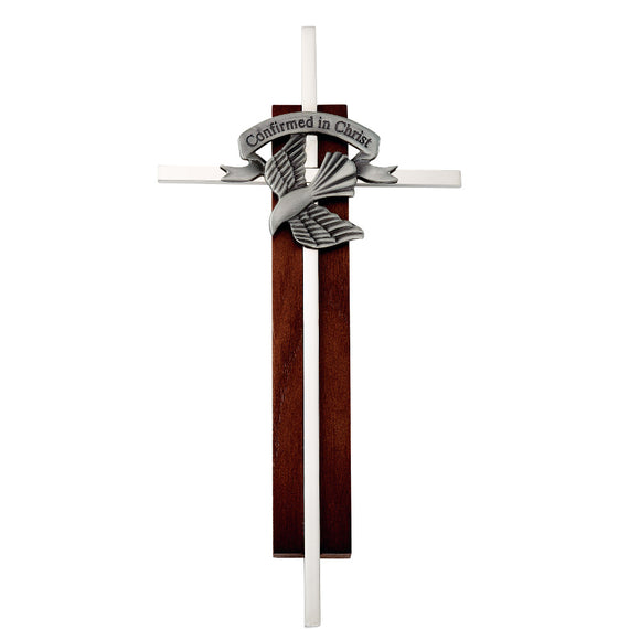 Dark Wood and Silver Confirmation Cross