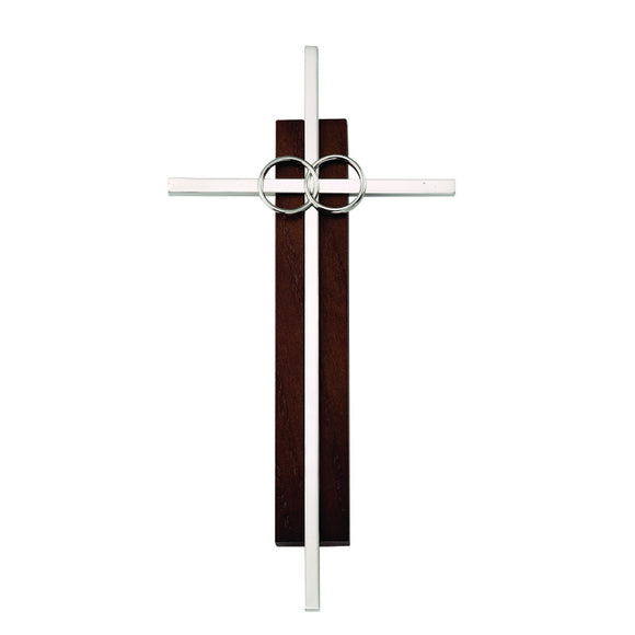 Dark Wood and Silver Wedding Cross