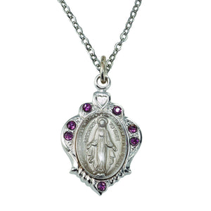 February Birthstone Miraculous Medal Necklace