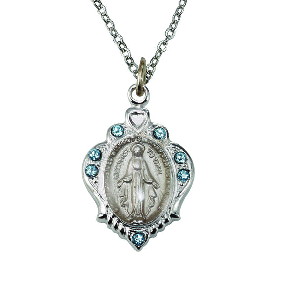 December Birthstone Miraculous Medal Necklace