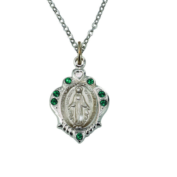 May Birthstone Miraculous Medal Necklace