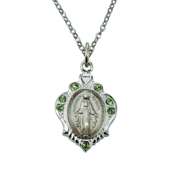 August Birthstone Miraculous Medal Necklace