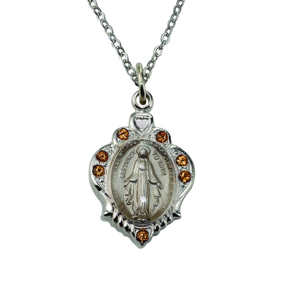 November Birthstone Miraculous Medal Necklace