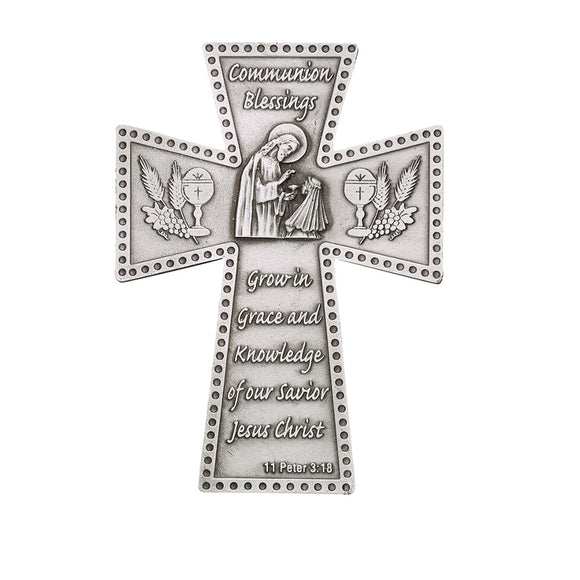 Communion Blessings Girl Pewter Cross
