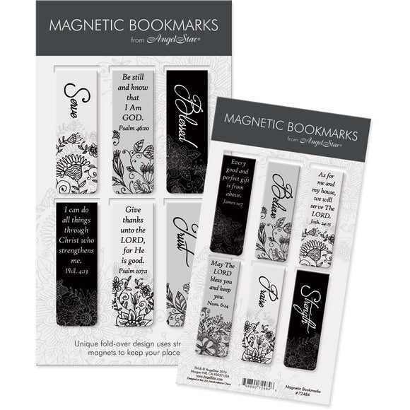 Black & White Scripture Magnetic Bookmark Set