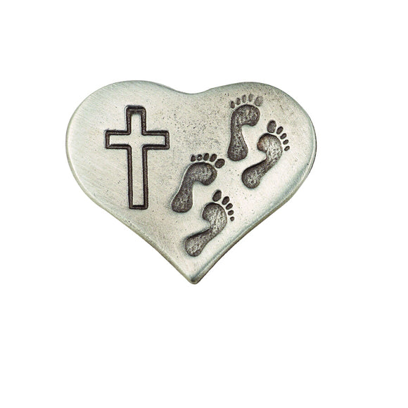 Pewter Footprints Heart Pin