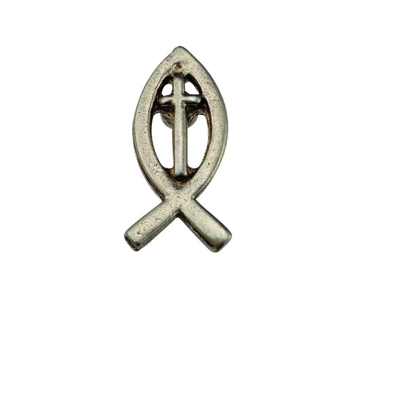 Fish with Cross Pewter Lapel Pin