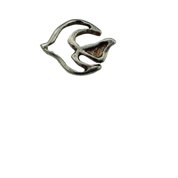 Descending Dove Outline Pewter Lapel Pin