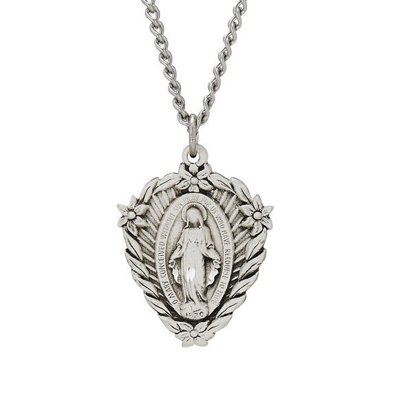 Floral Shield Miraculous Medal