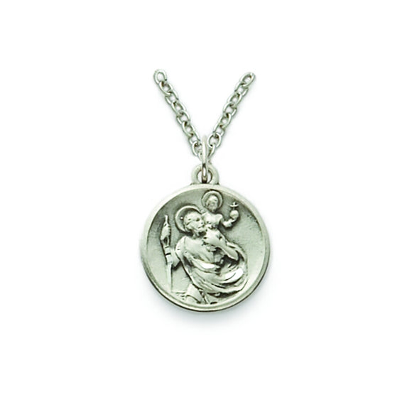 St. Christopher Sterling Silver Round  Medal