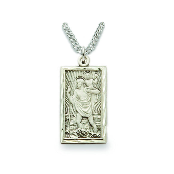 St. Christopher Sterling Silver Rectangle Medal
