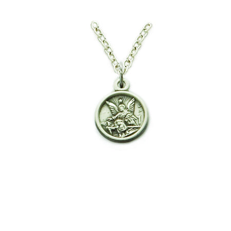 Silver Guardian Angel Necklace on 13