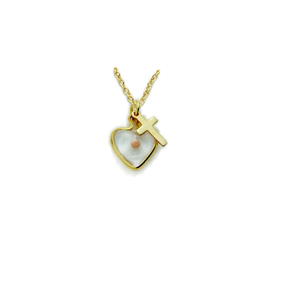 Gold Mustard Seed Heart & Cross