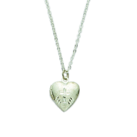 First Holy Communion Silver Heart Locket with Cross Necklace