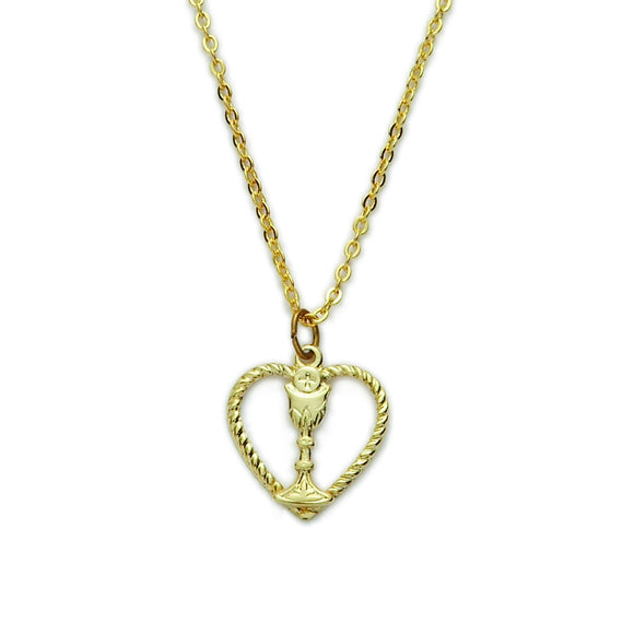 First Holy Communion Gold Heart with Chalice Necklace