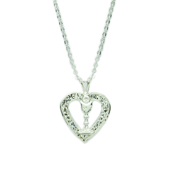 First Holy Communion Silver Heart with Chalice Necklace
