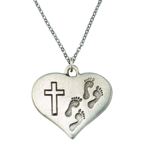 Footprints Heart Necklace