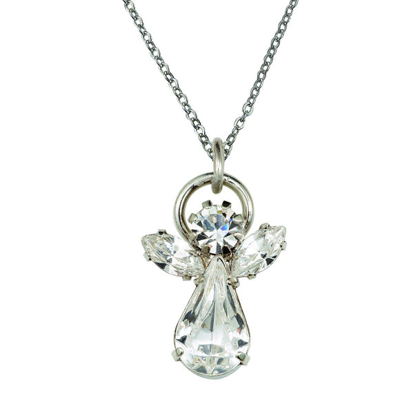 April Angel Birthstone Necklace