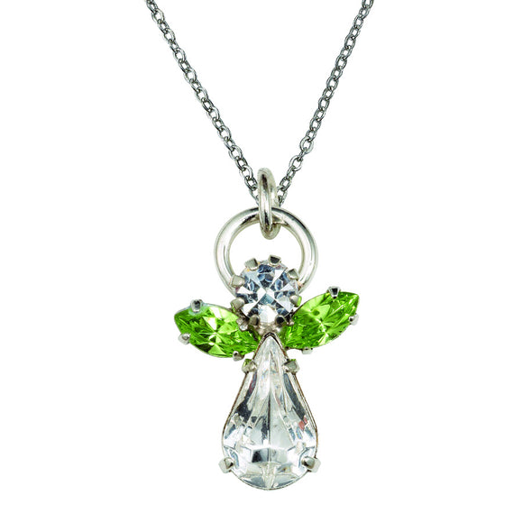 August Angel Birthstone Necklace