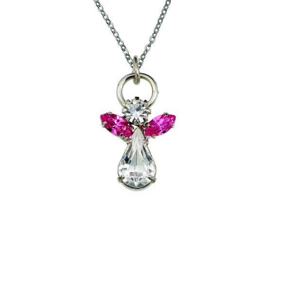 October Angel Birthstone Necklace