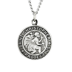 "St. Christopher Pewter Medal with 24"" Chain"