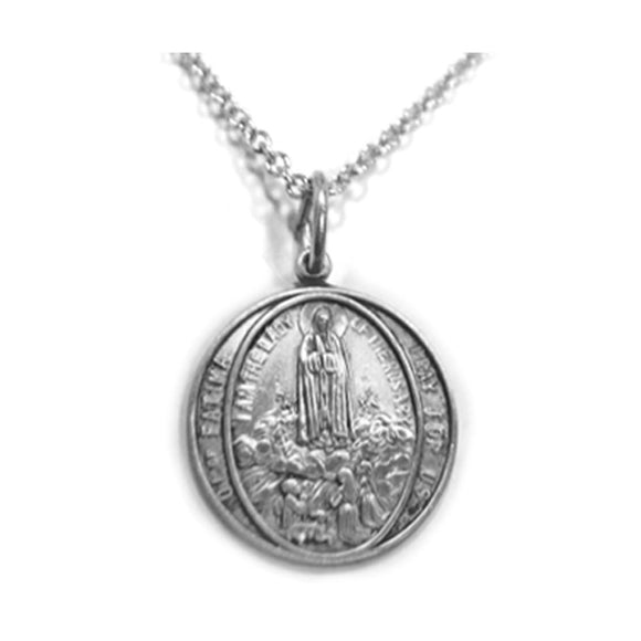 Round Fatima Pewter Medal