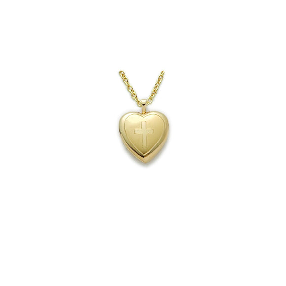 Heart & Cross Locket in Gold