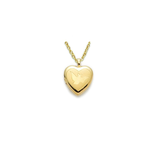 Heart & Dove Locket in Gold