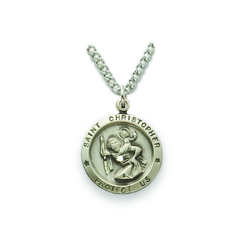 St. Christopher Round Sterling Silver Medal