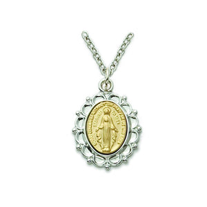 Sterling Silver 2-Tone Filigree Miraculous Medal