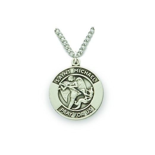 St. Michael Sterling Silver Round  Medal
