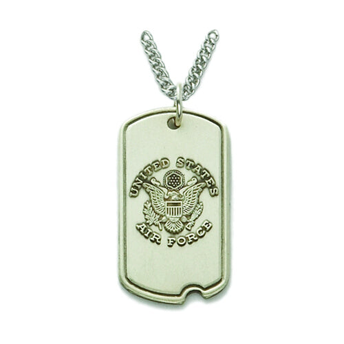 St. Michael Sterling Silver Air Force Dog Tag
