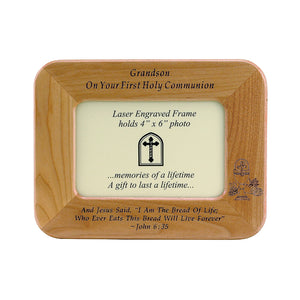 Grandson First Communion Wood Frame