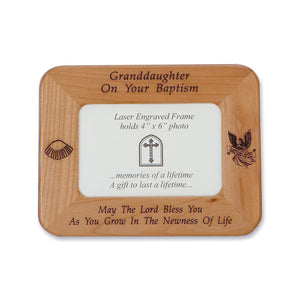 Granddaughter Baptism Wood Frame